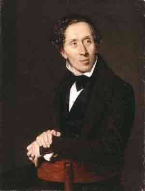 Hans Christian Andersen painted by Christian Albrecht Jensen, 1836