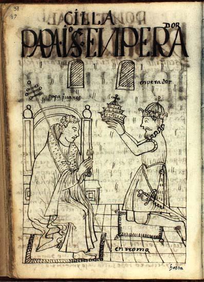 El emperador de Oriente Constantino IV corona al papa Juanes V. (pág. 37)