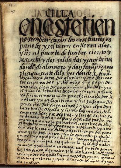 La llegada de los españoles en Tumbes, pág. 47