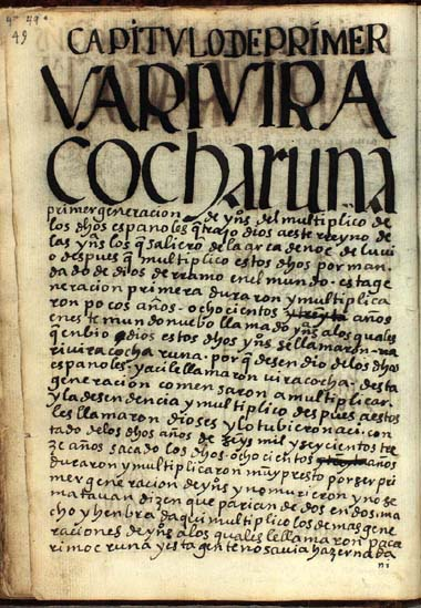 La primera edad de los indios, Vari Vira Cocha Runa, pág. 49