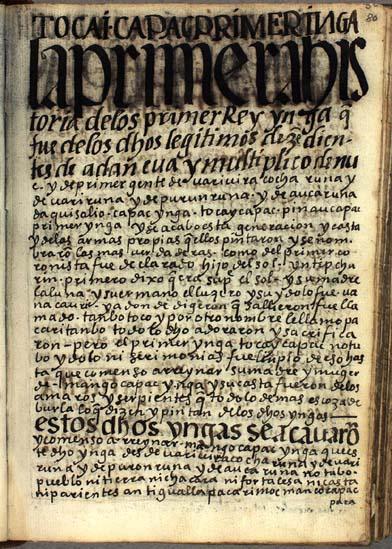 La historia de los primeros Yngas, pág. 80