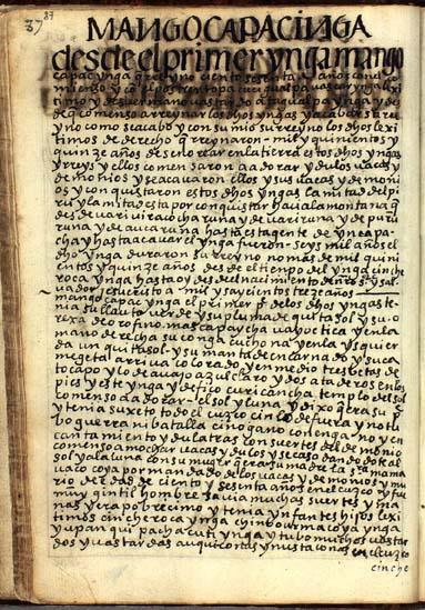 El primer Ynga, Mango Capac Ynga, pág. 87