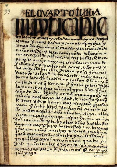 El cuarto Ynga, Mayta Capac Ynga, pág. 99