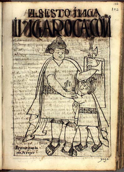The sixth Inka, Inka Roca, with his son (p. 102)