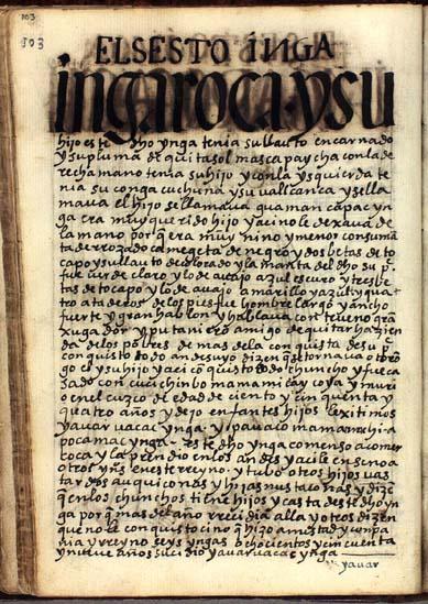 El sexto Ynga, Ynga Roca, pág. 103