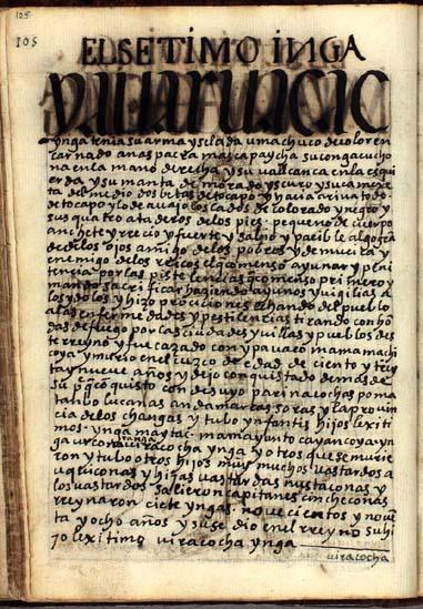 El séptimo Ynga, Yauar Uacac Ynga, pág. 105