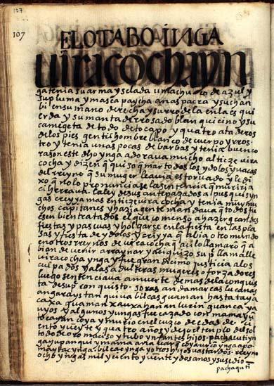 El octavo Ynga, Uira Cocha Ynga, pág. 107