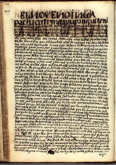 El noveno Ynga, Pachacuti Ynga, pág. 109