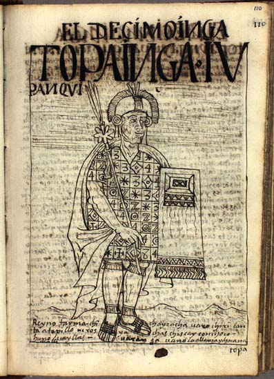The tenth Inka, Tupac Inka Yupanqui (110-111)