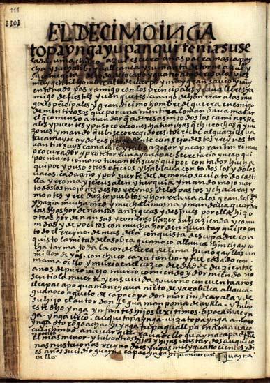 El décimo Ynga, Topa Ynga Yupanqui, pág. 111