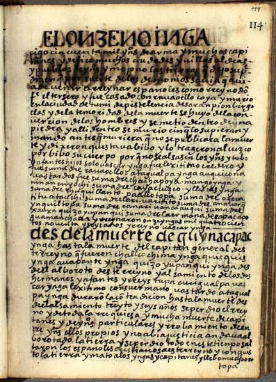 El undécimo Ynga, Huayna Capac Ynga, pág. 113