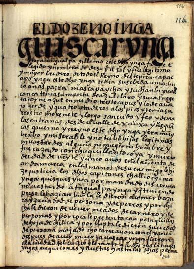 El duodécimo Ynga, Topa Cuci Gualpa Huascar Ynga, pág. 116