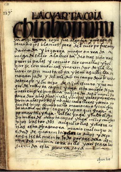 La cuarta quya, Chinbo Urma Mama Yachi, pág. 127
