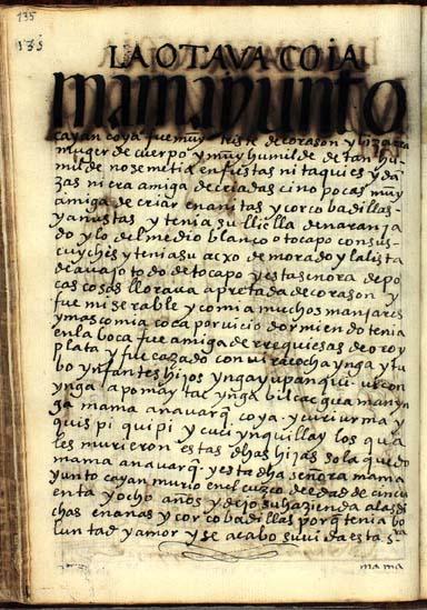La octava quya, Mama Yunto Cayan, pág. 135