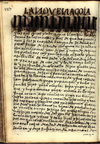 La novena quya, Mama Ana Uarque, pág. 137