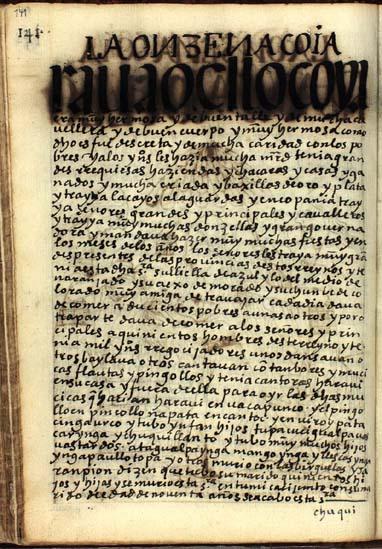 La undécima quya, Raua Ocllo, pág. 141