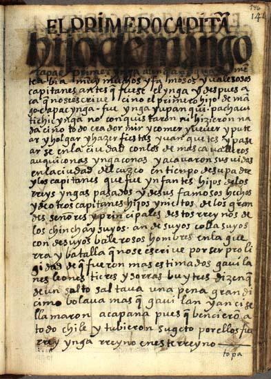 El primer capitán, Ynga Yupanqui, pág. 146