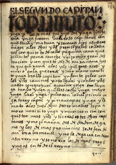 El segundo capitán, Topa Amaro Ynga, pág. 148