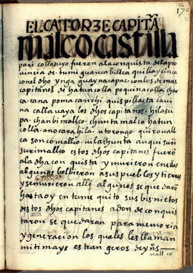 El décimocuarto capitán, Mallco Castilla Pari, pág. 172