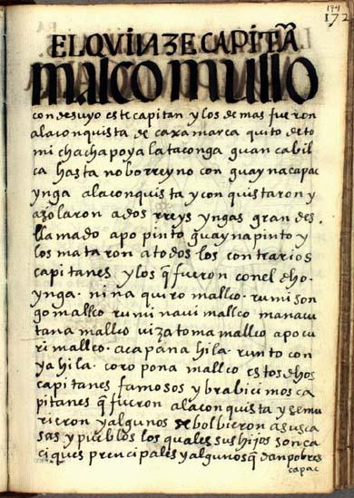 El décimoquinto capitán, Malco Mullo, pág. 174