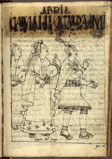 El cuarto mes, abril; Inka Raymi, festejo del Ynga; samay, descanso (pág. 244)