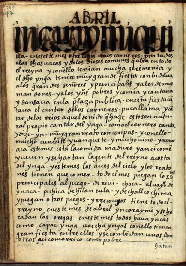Abril, el festejo del Ynga, pág. 245