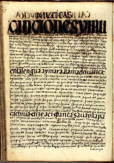 Canciones y música del Ynga, pág. 319
