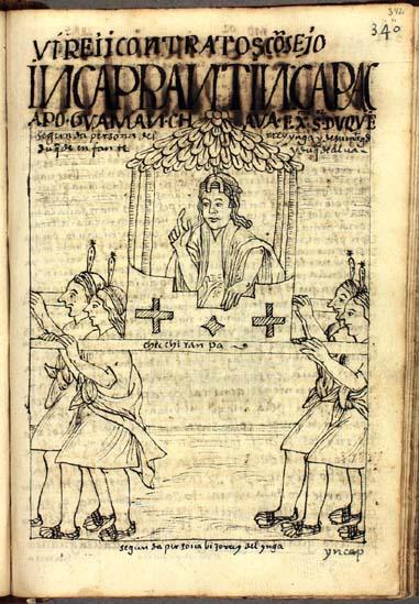 El consejo del Ynga: Inkap rantin qhapaq apu, el gran señor que reemplaza al Ynga; Guaman Chaua, excelentísimo señor (pág. 342)