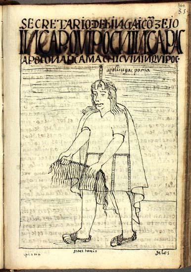 El consejo del Ynga: Inkap khipuqnin qhapaq apukunap kamachikuynin khipuq, el secretario y contador del Ynga que archiva las disposiciones de los señores reales (pág. 360)