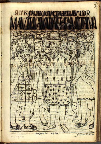"Guaman Poma says, ""But, tell me,"" as he inquires about the history of ancient Peru. (p. 368)"