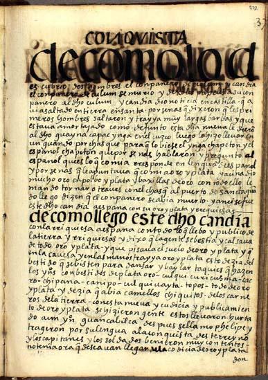 Las primeras noticias de Guayna Capac Ynga de la llegada de los españoles, pág. 372