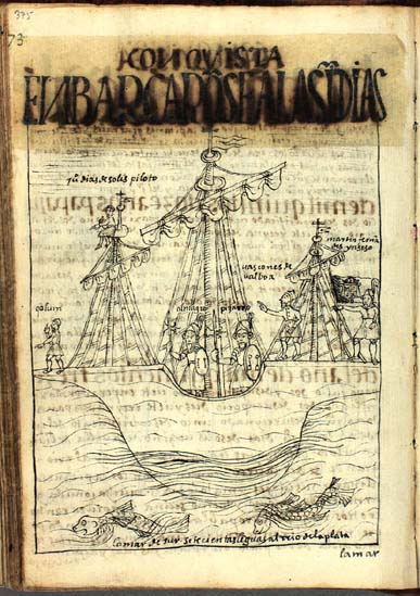 The voyages of New World discovery and conquest: Christopher Columbus, Juan Díaz de Solís, Diego de Almagro, Francisco Pizarro, Vasco Núñez de Balboa, and Martín Fernández de Enciso. (p. 375) (See also p. 46.)