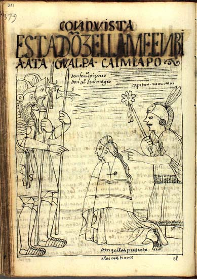 The Captain Rumiavi, emissary of Atahualpa, presents Don Francisco Pizarro and Don Diego de Almagro with two maidens in order to convince the Spaniards to return to their homeland. (p. 381)