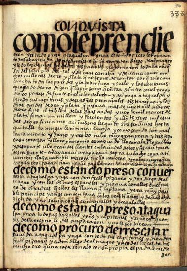 La prisión y ejecución de Atagualpa Ynga, pág. 390
