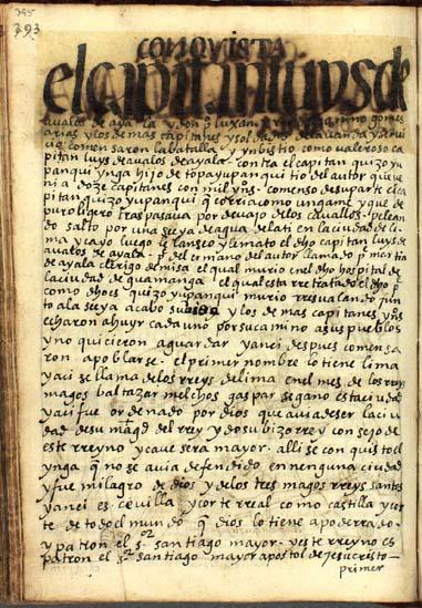 Conquista española, resistencia de Mango Ynga y milagros divinos, pág. 395
