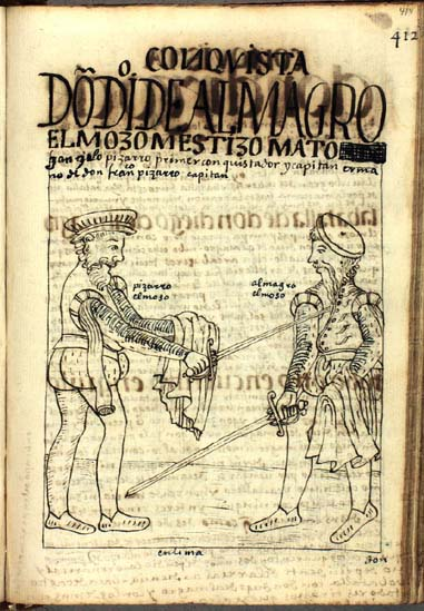 Gonzalo Pizarro kills the mestizo rebel Don Diego de Almagro. (p.414)