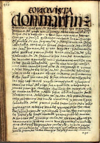 Don Martín Guaman Malqui de Ayala da batalla a Francisco Hernández Girón, pág. 435