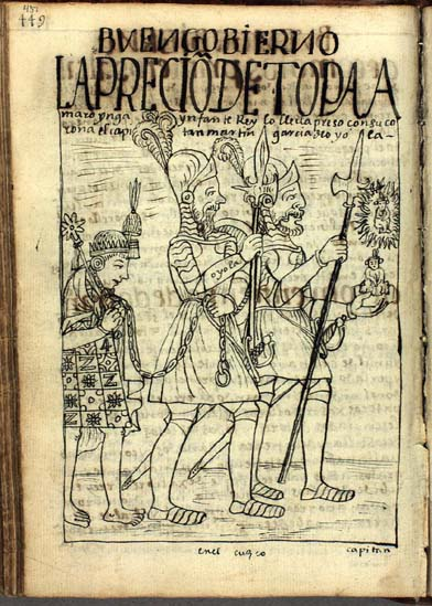 Captain Martín García de Loyola escorts the captured Tupac Amaru Inka to Cuzco. (p.451)