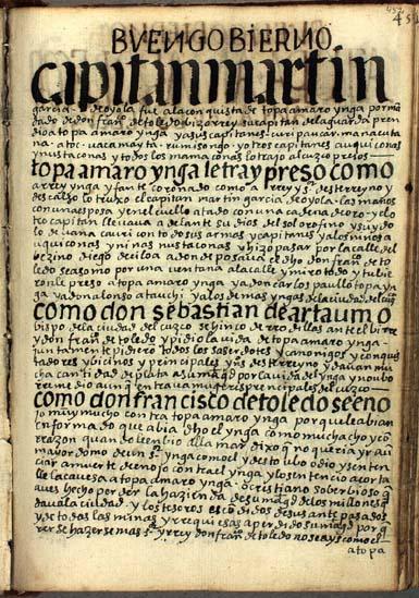 La captura y ejecución de Topa Amaro Ynga, pág. 452