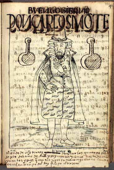Don Carlos Monterrey (actually, Gaspar de Zúñiga y Acevedo), the ninth (actually, tenth) viceroy of Peru (472-473)