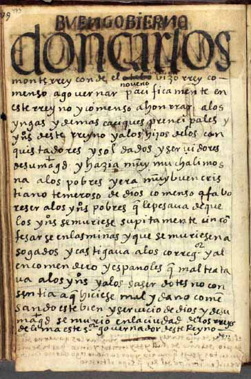 Don Carlos Monterrey (en realidad, Gaspar de Zúñiga y Acevedo), el noveno (en realidad, el décimo) virrey del Perú, pág. 473