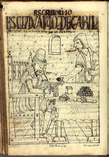 El notario de cabildo recibe cohecho de un indio tributario. (pág. 525)