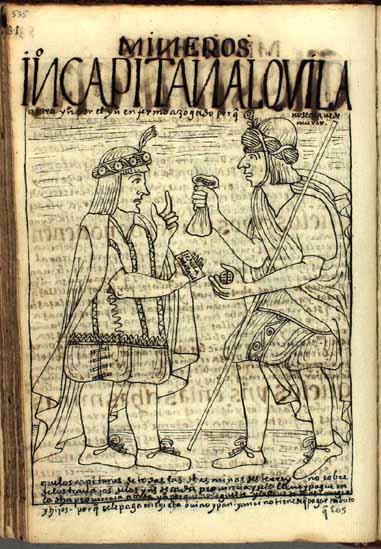 """Un indio capitán de minas """"alquila"""" a un nativo tributario para reemplazar a uno de los suyos que ha caído enfermo en las minas de azogue. (pág. 535)"""
