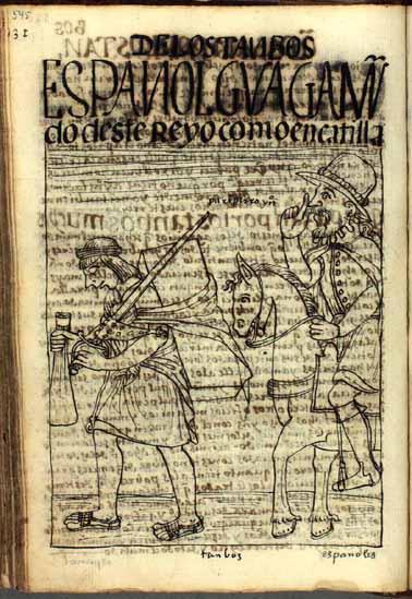 """El vagabundo español le ordena a su cargador andino: """"¡Camina, perro indio!"""" (pág. 545)"""