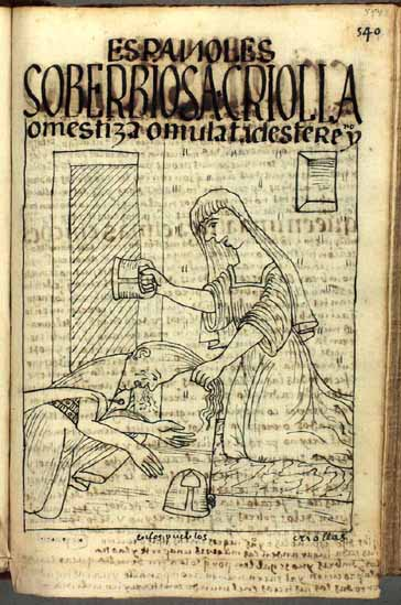 "La criolla (o mestiza o mulata) soberbiosa, ""enemiga de los pobres indios"" (pág. 554)"