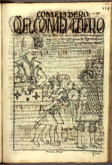 """El encomendero entra pomposamente a los pueblos a su cargo: """"Se hacen llevar en andas como Yngas, o santos en procesión"""". (pág. 568)"""