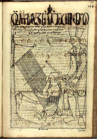 El padre de doctrina amenaza a la tejedora andina que trabaja por orden suyo. (pág. 578)