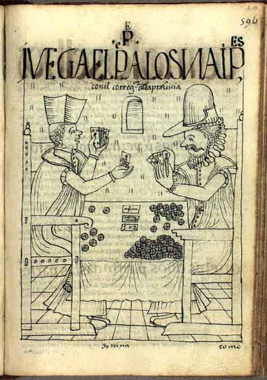 El padre de doctrina juega a los naipes con el corregidor de la provincia. (pág. 610)
