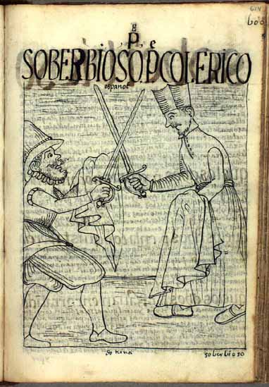 The irascible parish priest raises the sword against a poor Spanish soldier. (p.614)