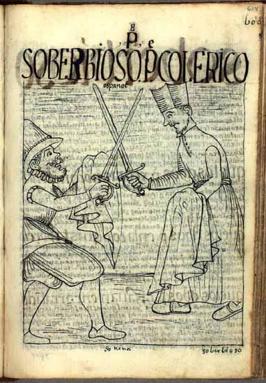 The irascible parish priest raises the sword against a poor Spanish soldier. (p.614)
